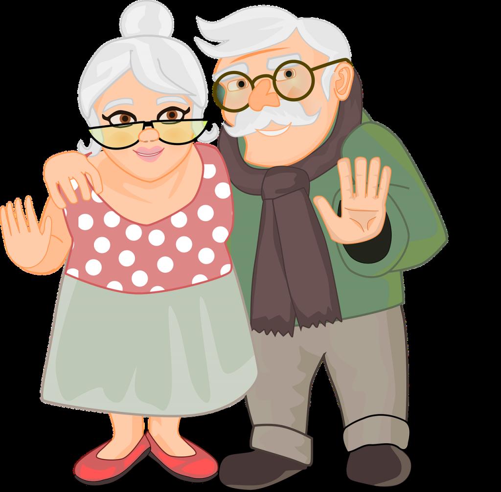 elderly, couple, grandparents